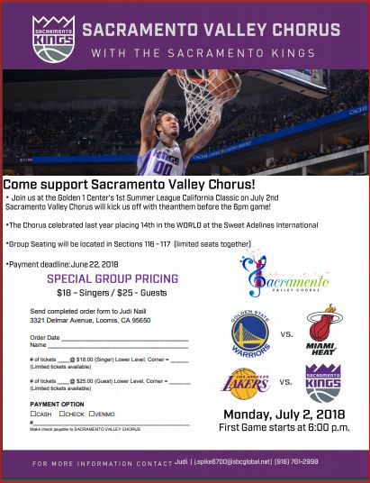 July 2nd - SVC at Warriors Game - A SPECIAL OPPORTUNITY!!